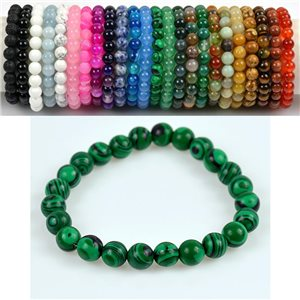 8mm Pearl Bracelet in Malachite Stone on elastic thread 78670