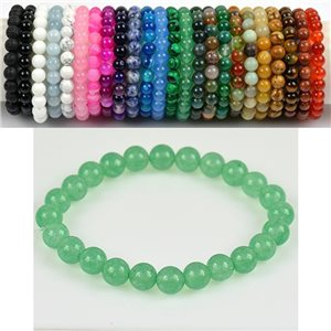 8mm Pearl Bracelet in Green Aventurine Stone on elastic thread 78671