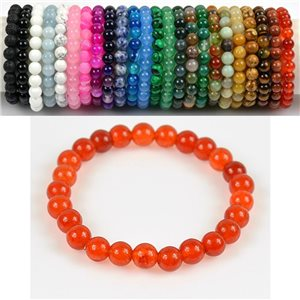 8mm Pearl Bracelet in Carnelian Stone on elastic thread 78681
