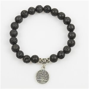 Lucky Tree of Life Beads Bracelet 8mm in Lava Stone on elastic thread 78682