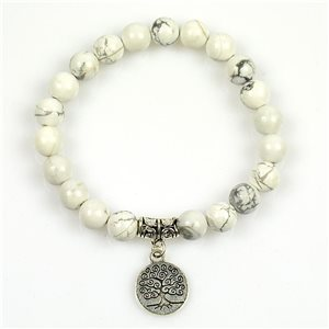 Lucky Tree of Life Bracelet 8mm Beads in White Howlite Stone on elastic thread 78684
