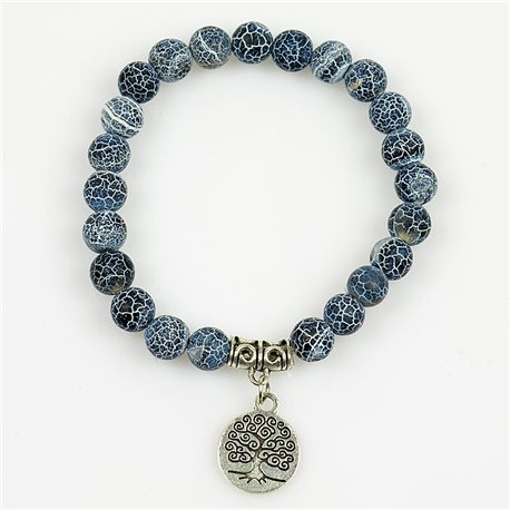 Lucky Tree of Life Bracelet 8mm Beads in Blue Agate Dragon Vein Stone on elastic thread 78685