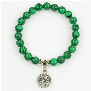 Lucky Tree of Life Beads Bracelet 8mm in Malachite Stone on elastic thread 78688
