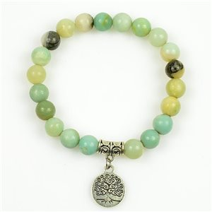 Lucky Tree of Life Bracelet 8mm Beads in Jasper Stone on elastic thread 78689