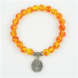 Lucky Tree of Life Bracelet 8mm Beads in Amber Stone * Flower on elastic thread 78690