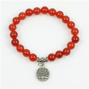 Lucky Tree of Life Bracelet 8mm Beads in Carnelian Stone on elastic thread 78692