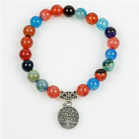 Tree of Life Beads 8mm Lucky Bracelet in Multicolor Dragon Vein Agate Stone on elastic thread 78693