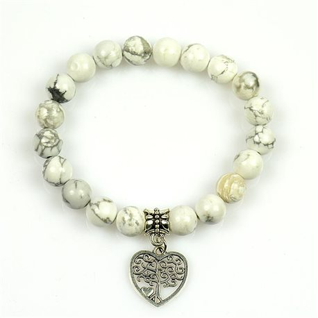 Lucky Tree of Life Bracelet 8mm Beads in White Howlite Stone on elastic thread 78696