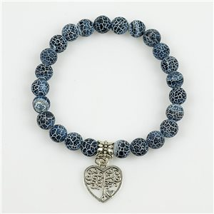 Lucky Tree of Life Beads Bracelet 8mm in Blue Agate Stone Dragon Vein on elastic thread 78697