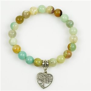 Lucky Tree of Life Bracelet 8mm Beads in Jasper Stone on elastic thread 78701