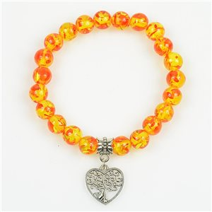 Tree of Life Beads Lucky Bracelet 8mm in Amber Stone * Flower on elastic thread 78702