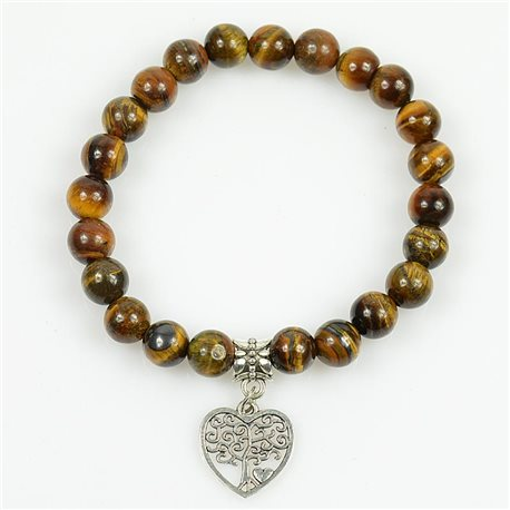Tree of Life Lucky Bracelet 8mm Beads in Tiger Eye Stone on elastic thread 78703