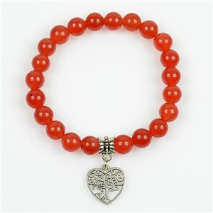 Tree of Life Beads Lucky Bracelet 8mm in Carnelian Stone on elastic thread 78704
