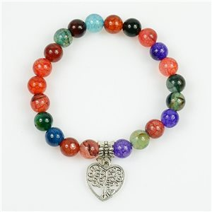 Tree of Life Beads 8mm Lucky Bracelet in Multicolor Dragon Vein Agate Stone on elastic thread 78705