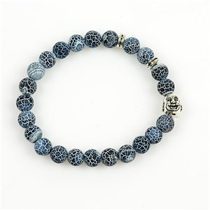 Lucky Buddha Bracelet 8mm Beads in Blue Agate Dragon vein on elastic thread 78709