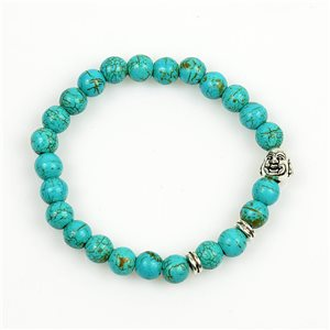 Lucky Buddha Bracelet 8mm Pearls in Turquoise Howlite Stone on elastic thread 78711