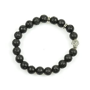 Lucky Buddha Bracelet 8mm Beads in Lava Stone on elastic thread 78718