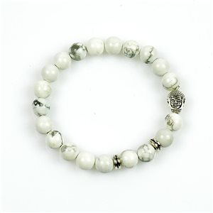 8mm Beads Buddha Lucky Bracelet in White Howlite Stone on elastic thread 78720