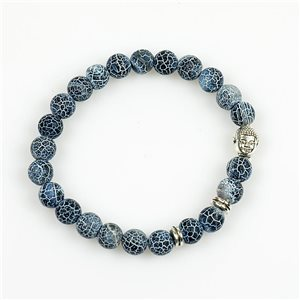 Lucky Buddha Bracelet 8mm Beads in Blue Agate Stone Dragon Vein on elastic thread 78721