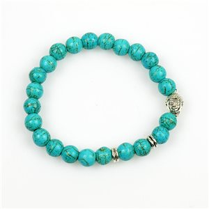 Lucky Buddha Bracelet 8mm Pearls in Turquoise Howlite Stone on elastic thread 78723