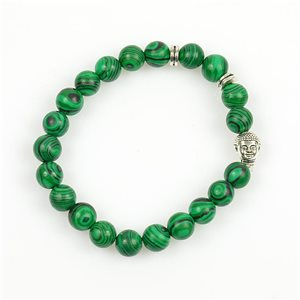 Lucky Buddha Bracelet 8mm Beads in Malachite Stone on elastic thread 78724