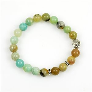 Lucky Buddha Bracelet 8mm Beads in Jasper Stone on elastic thread 78725