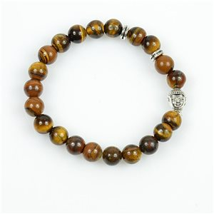 Buddha Lucky Bracelet 8mm Beads in Tiger Eye Stone on elastic thread 78727