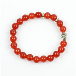 Lucky Buddha Bracelet 8mm Beads in Carnelian Stone on elastic thread 78728