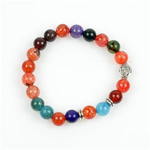 Lucky Buddha Bracelet 8mm Beads in Multicolor Dragon Vein Agate Stone on elastic thread 78729
