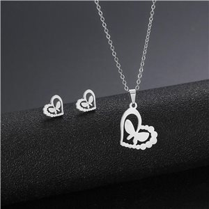 Stainless Steel Set on 44cm stainless steel chain - SILVER Steel Collection 78736