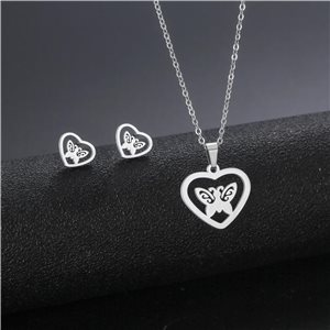 Stainless Steel Set on 44cm stainless steel chain - SILVER Steel Collection 78741