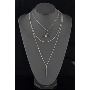 Collier Sautoir Triple Rang métal Argenté New Collection 78568
