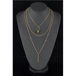 Collier Sautoir Triple Rang métal Doré New Collection 78569