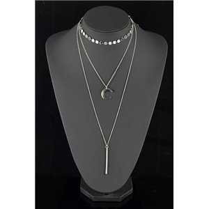 Collier Sautoir Triple Rang métal Argenté New Collection 78570