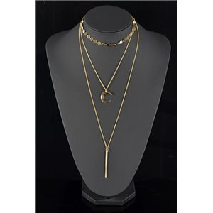 Collier Sautoir Triple Rang métal Doré New Collection 78571
