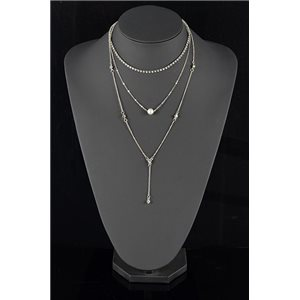 Collier Sautoir Triple Rang métal Argenté New Collection 78572