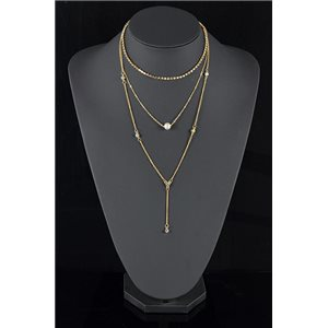 Gold Metal Triple Row Long Necklace New Collection 78573