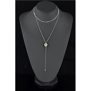 Collier Sautoir Triple Rang métal Argenté New Collection 78574