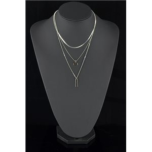 Collier Sautoir Triple Rang métal Argenté New Collection 78578