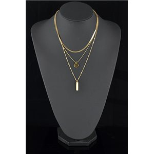 Collier Sautoir Triple Rang métal Doré New Collection 78579