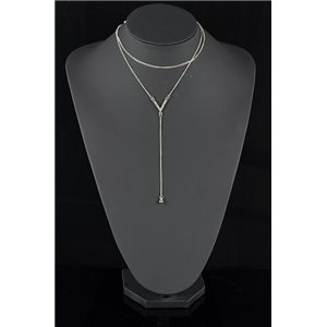 Collier Sautoir Triple Rang métal Argenté New Collection 78580