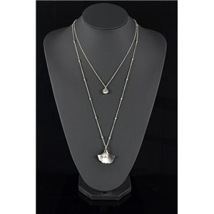Collier Sautoir Triple Rang métal Argenté New Collection 78582