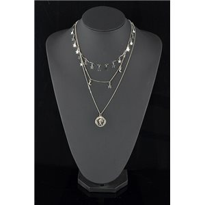 Collier Sautoir Triple Rang métal Argenté New Collection 78584