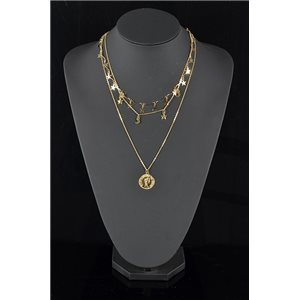 Collier Sautoir Triple Rang métal Doré New Collection 78585