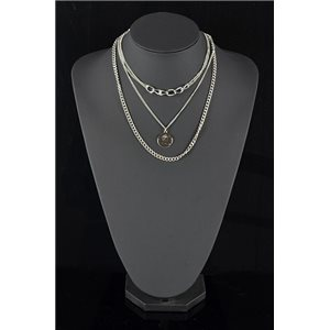 Triple Row Long Necklace in Silver Metal New Collection 78586