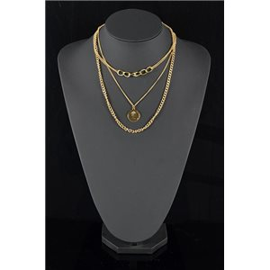 Gold Metal Triple Row Long Necklace New Collection 78587
