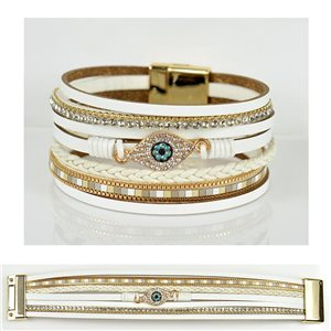 Bracelet Strass Effet manchette multirang fermoir aimanté New Collection 79034