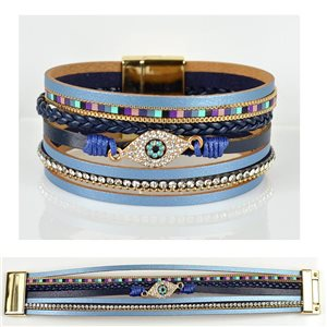 Bracelet Strass Effet manchette multirang fermoir aimanté New Collection 79035