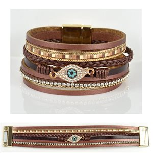 Bracelet Strass Effet manchette multirang fermoir aimanté New Collection 79036