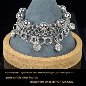 Pretty multirang charms bracelet set with high-gloss rhinestones in silver metal 79067